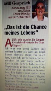 Ausschnitt AZUR-Reportage Interview Kreuzfahrtdirektorin