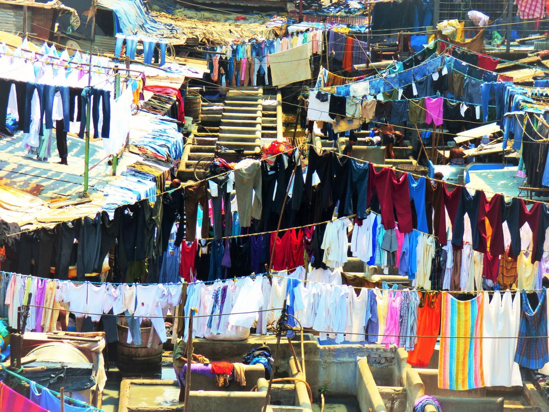 Die Wäscher von Dhobi Ghat in Mumbai.