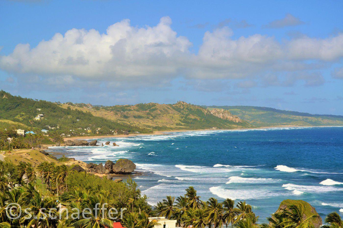 Raue Wellen an der Atlantikküste von Barbados