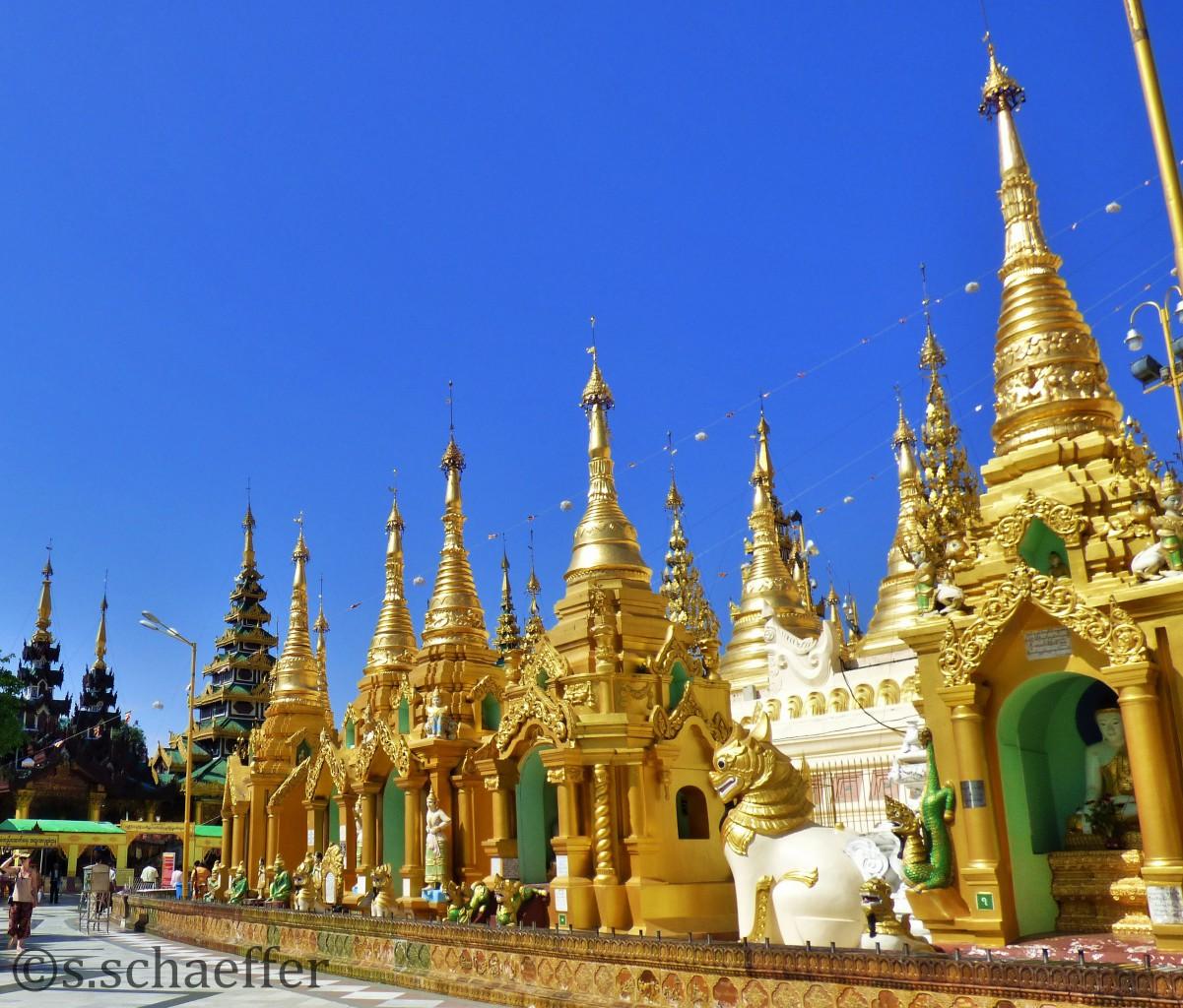 Myanmar Goldene Stupas in der Swegadon Pagode in Yangun ©s.schaeffer